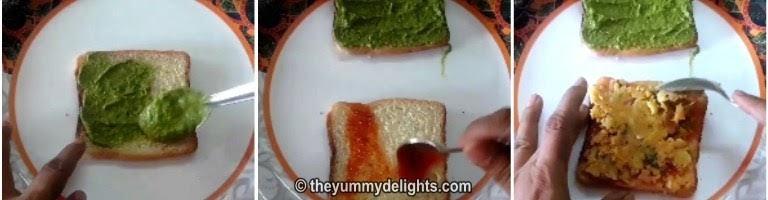 Spreading green chutney on bread slice for making aloo sandwich recipe