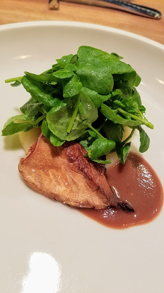 Farm Spirit 7:45 PM seating on December 16th dinner: Pan roasted Abalone mushroom with potato puree, red onion sauce, and watercress.