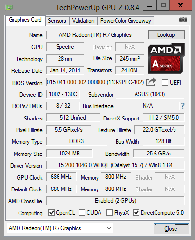 GPU-Z R7 Graphic 2x4GB