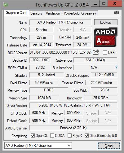 GPU-Z R7 Graphic 2x4GB