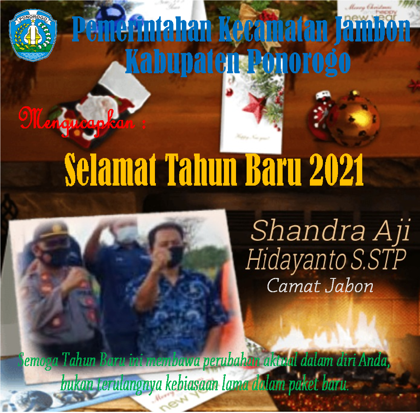 Pemerintahan Kecamatan Jambon  Kabupaten Ponorogo Mengucapkan : Selamat Tahun Baru 2021