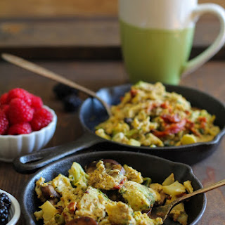 Broccoli, Mushroom, and Sun-Dried Tomato Scramble.