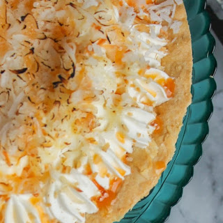 Toasted Coconut Cream Pie with Caramel Drizzle
