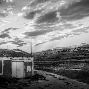 Abandoned Salt Production by Goran Grudić - Black & White Landscapes ( croatia, salt, pag, black and white, building, landscape,  )
