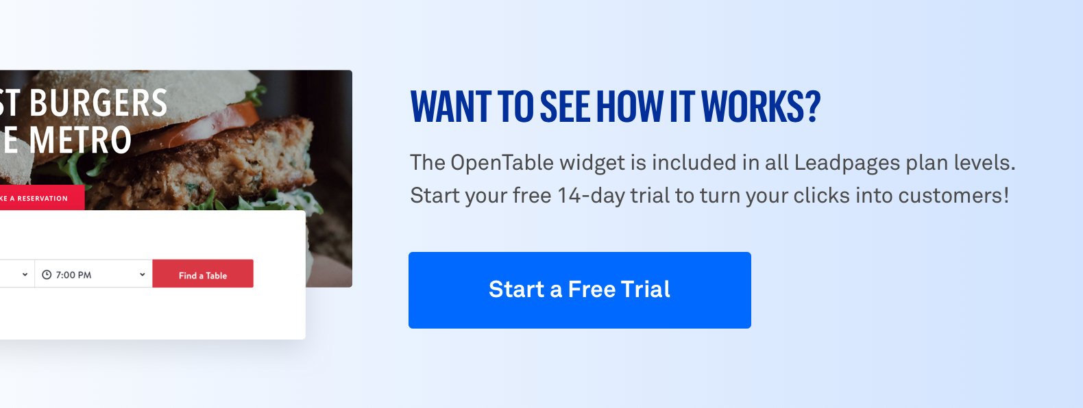 opentable landing page leadpage reservation