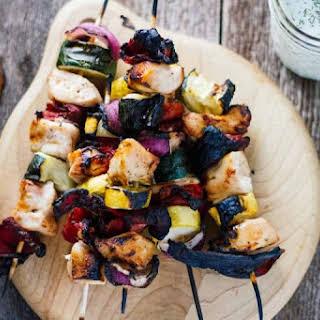 Greek Chicken Kabobs w/ Tzatziki Sauce.
