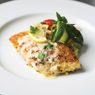 Parmesan-and-Panko-Encrusted Whitefish with Lemon Caper Sauce.