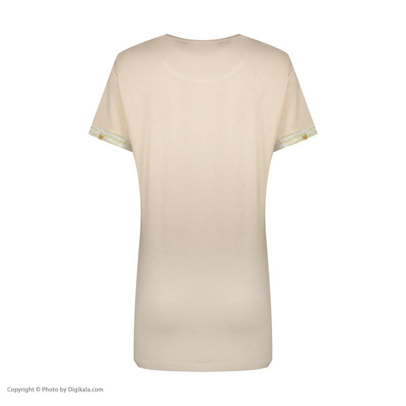 ست تی شرت شلوار زنانه فمیلی ور طرح دختر کلاه دار کد 0261 رنگ کرم