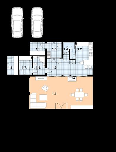 A-109 szkielet drewniany - Rzut parteru