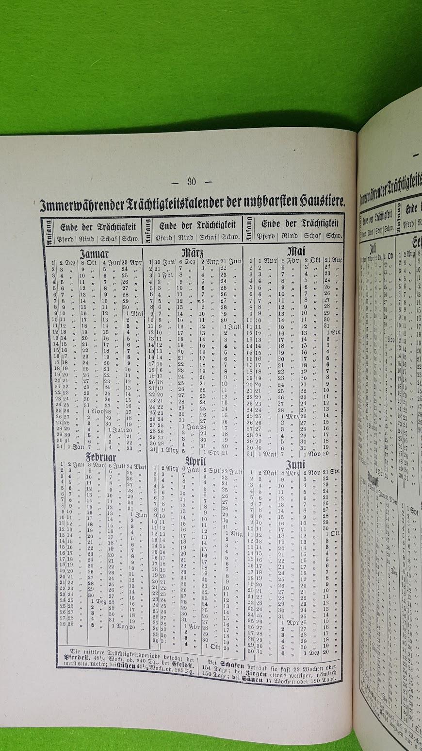 Köhler's Deutscher Kalender 1934 - Trächtigkeitskalender