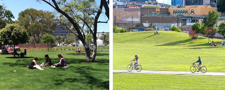 izquierda: Grand Park, foto a través de LA Mag.   derecha: Los Angeles State Historic Park, foto a través de CA State Parks.
