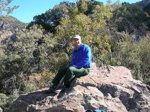 Photo: Pete takes a lunch break, too, before we all continued up the trail to measure the national champion Chisos Hophornbeam.