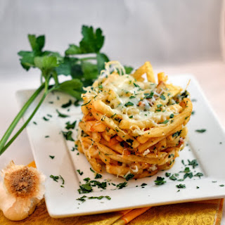 Cheesy Garlic Fry Stack.