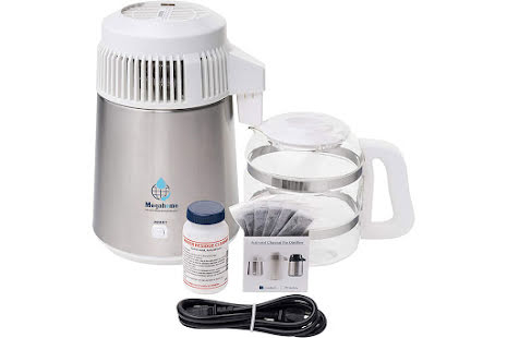Megahome 316 Deluxe destillasjonsapparat for vann, syrefast stål, hvit topp, glassmugge