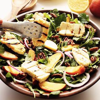 Arugula Peach and Halloumi Salad.