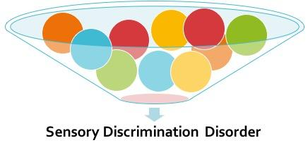 A large, wide funnel full of multi-colored orbs with shading at the bottom and a downward arrow pointing to text Sensory Discrimination Disorder