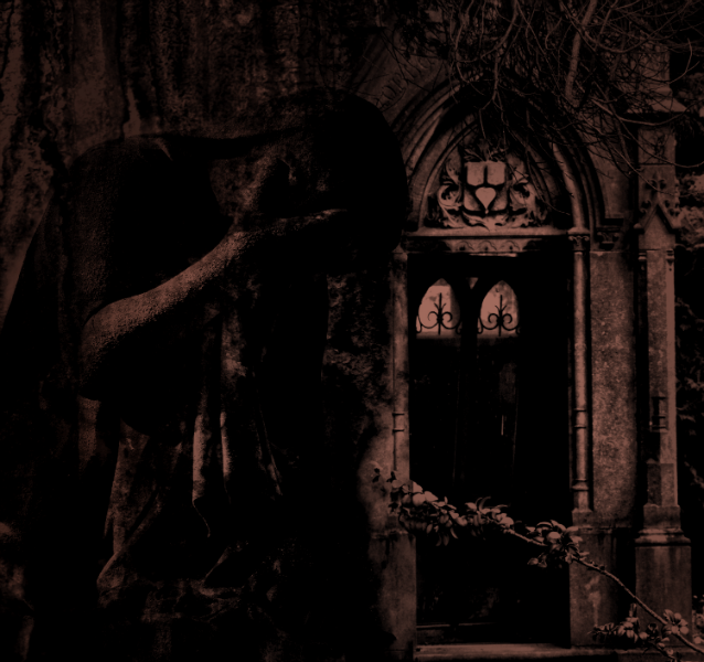 A statue of a woman weeping by a doorway in sepia