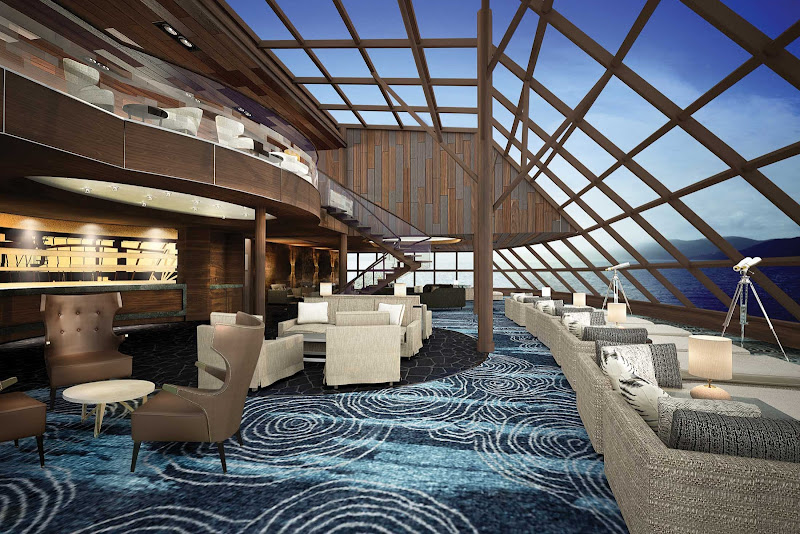A digital rendering of the Haven Observation Lounge on Norwegian Bliss.