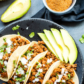 Ground Turkey Tacos with Soft Corn Tortillas.