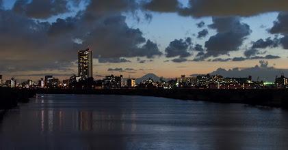 Photo: Mt Fuji on a September evening, as seen from a bridge in Matsudo, Japan