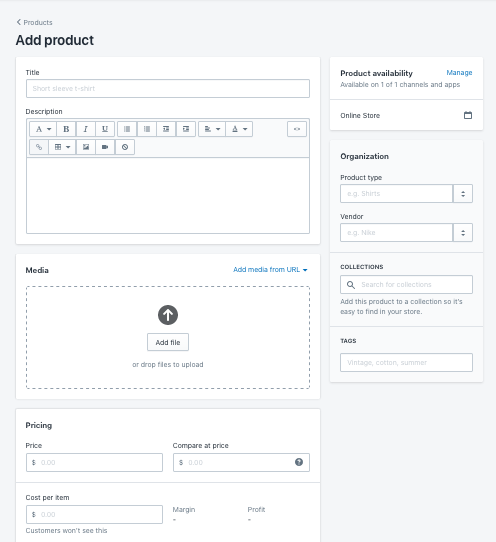 Add products page in the Shopify website builder editor