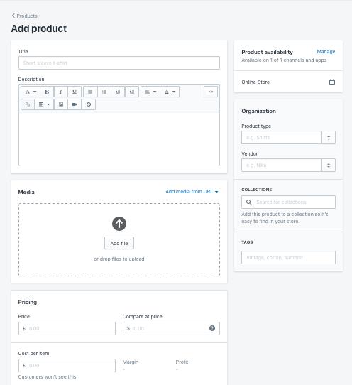 seite, um produkte hinzuzufügen, in Shopify website baukasten editor