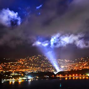 Hobbit Filming Lights by Graeme Carlisle - News & Events World Events ( clouds, lights, epic, beaming light, filming, the hobbit, night, landscape )