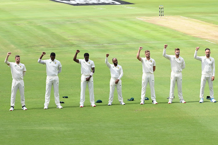 Players after the anthems during day 1 of the 1st Betway Test (WTC) match between South Africa and Sri Lanka at SuperSport Park on December 26, 2020 in Pretoria, South Africa.