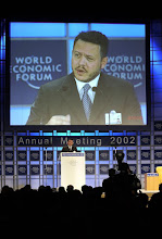 Photo: NEW YORK, 3FEB02 -H.M. King Abdullah Hussein of Jordan speaks to the audience during a special session of the 32nd Annual Meeting of the World Economic Forum at the Waldorf-Astoria hotel in New York on February 3, 2002. 