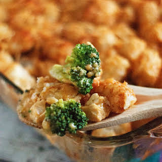 Cheesy Chicken and Broccoli Tater tot Casserole.