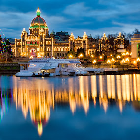 British Columbia Parliament Christmas Lights by James Wheeler - Public Holidays Christmas ( night, lights )