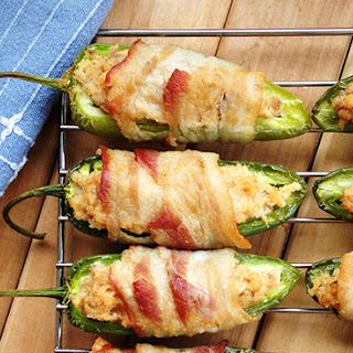 "Paleo Bacon-Wrapped Salmon Stuffed Jalapeño ""Poppers"""