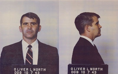 Oliver North's mug shot when he was arrested.