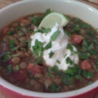 Lentils with White Wine, Herbs and Tomatoes.