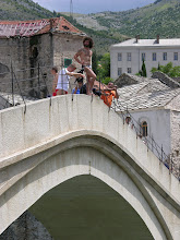 Photo: Local posing before jumping (for money) off the Old Bridge of Mostar