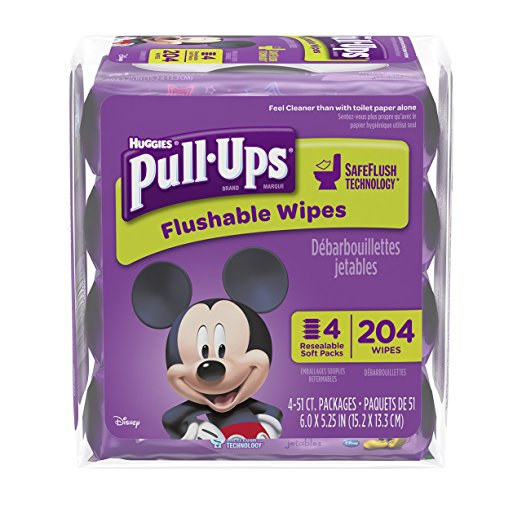 Huggies Pull Ups Flushable Wipes, 204 count