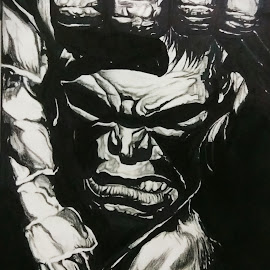 Hulk stencil  by Anshuman Kanjilal - Drawing All Drawing