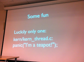 Photo: bz@ asks in the devsummit track: How many teapots does it take to compile a kernel? ;-)
