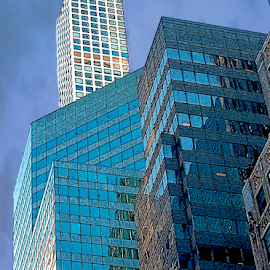 Office Building Angles by Edward Gold - Digital Art Things ( digital photography, light blue colors, angles, tans, dark blue sky, ny office building, window reflections, digital art,  )
