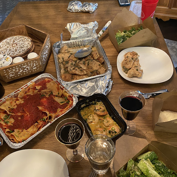 Can't move. We got Covid safe take out tonight. GLUTEN FREE chicken piccata, pasta, Caesar salads and shrimp scampi. Never disappoints.