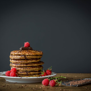 Clean Eating Pancakes with Chocolate and Raspberries