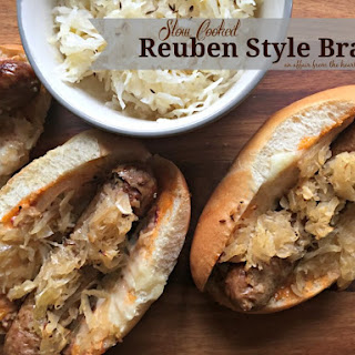 Slow Cooked Reuben Style Brats.