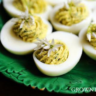 Wild Garlic Deviled Eggs