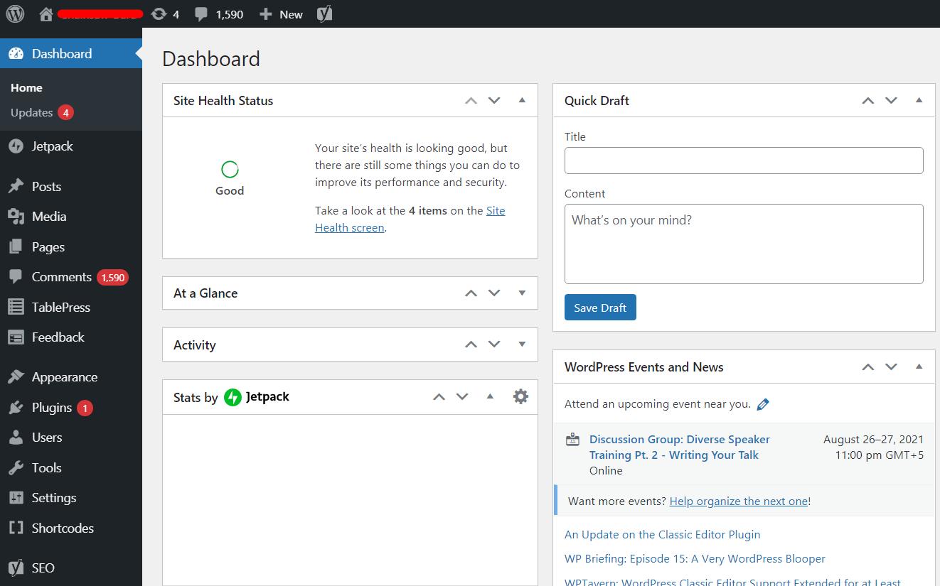 Blogging guide: WordPress dashboard