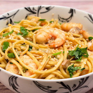 Spicy Asian Noodles with Shrimps and Mushrooms.