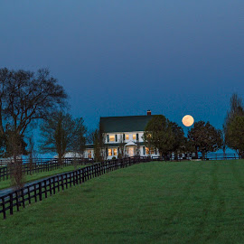 Moon over the bluegrass. by Jim Dawson - Novices Only Landscapes ( moon. horse_farm. kentucky. nikon. sunset. april. )