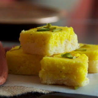Kesar Mawa Coconut Burfi Recipe