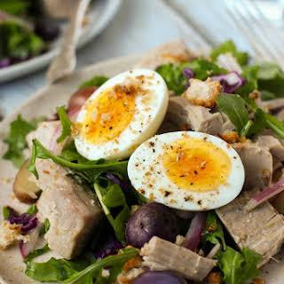 Poached Tuna Salad With Arugula And Purple Potatoes.