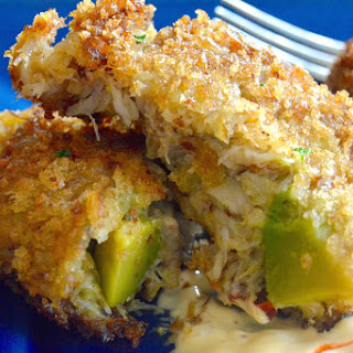 Avocado Crab cakes with Sriracha dipping sauce.