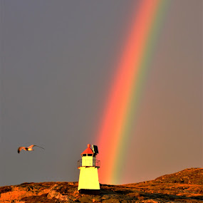 Rainbow over light house by Roald Heirsaunet - Landscapes Weather